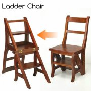 Step Ladder Chair Solid Wood Folding Step Stool Chair Library Step Chair (Oak)