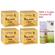 Tropika Baby Herbal Cream 50g - Pack of 4 (FREE 1 Tropika Citronella oil, 30ml) BEST SELLER!