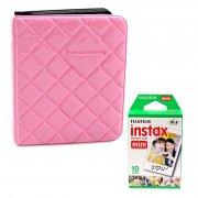 Fujifilm Instax Album 64 Photo (Diamond) (Pink) + Fujifilm Instax Mini Normal Film (886+1001)