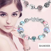 BAMOER 925S Silver Plated Bracelets Charms Set- 22 option