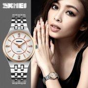 SKMEI 1133 Ladies's Luxury Rhinestone Quartz Stainless Steel Watch (Gold)