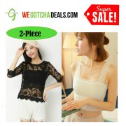 [WGD] SALE: 2-Piece Black & White Fashion Lace Bralet | Dress Top | Singlet | Bra Clothes