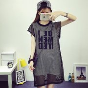 2 IN 1 WOMEN SEXY SHORT SLEEVE LETTER DRESS 70-2384 (BLACK AND WHITE)
