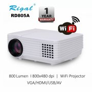 Rigal RD805A 800 Lumen Wifi Projector HDMI VGA better than Unic UC46 Projector