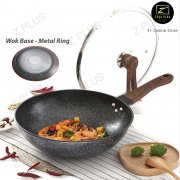 Z PLUS Korean Maifan Stone Non stick Fine Iron Cooking Pot Frying Pan Wok Standable Lid (32cm)