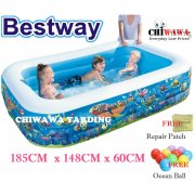 Inflatable 3 Ring Pool 185CM x 148CM x 60C Kid Family Swimming Pool with Cartoon Safe PVC Bath Basin