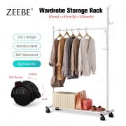 ZEEBE 3 in 1 DIY Wardrobe Stainless Steel wt Wheel Drying Rack And Almari Storage 085Y
