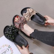Women's Cute Slippers with Plaid Bow