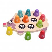 [Little B House] Little Hedgehog Learns Count Number Wooden Puzzle Matching Toy - BT65