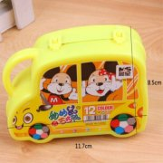 (READY STOCK) Cute Car Cartoon Design 12 colour washable Color Markers Set Drawing Paint Art Pencils