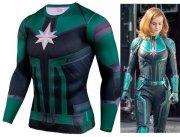 Avengers Endgame Carol Danvers Green Suit Tee T-Shirt Long n Short Sleeve S-XXXXL