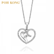 Poh Kong Women I Love Love 18K White Gold Lovey Diamond Pendant