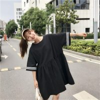 Women Round Collar Sporty Style Loose-fitting Dress