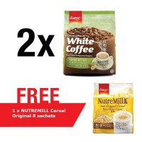 SUPER CHARCOAL ROASTED WHITE COFFEE Hazelnut (2 Packs) + Nutremill Cereal Original 8's