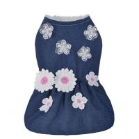 Fashion Female Dog Flower Lace Denim Dress Fleece Lining Sleeveless Pet Clothes