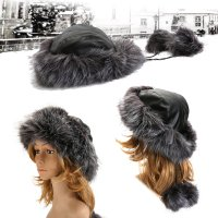 Women Winter Warm Hat Real Fur Knitted Fox Fur Earmuff Cap Luxury Pom Pom Hat