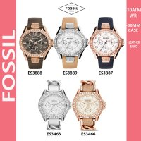 FOSSIL Analog 3 hands Leather band Ladies Watch RILEY series