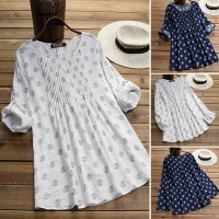 UK Womens Round Neck Polka Dot Long Sleeve Tops Ladies Casual T-Shirts Blouse