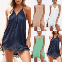 Women Summer Strappy Sleeveless V Neck Crochet Mini A-line Vest Dresses Sundress