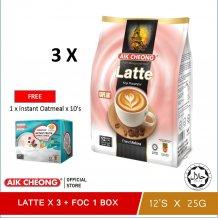 [FOC Instant Fruit Cereal x 1] Aik Cheong Latte 300g x 3