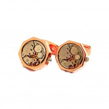 Kings Collection Mechanical Movement Watch Cufflinks KC10004 Rose Gold