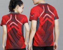 Mens Women Badminton Racket Table Tennis Sports Jersey Top Shirt #RedArmy