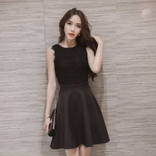 Women Korean Fashion Sleeveless Above Knee Lace Dress (Black/Gray)