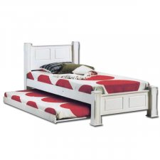 Rondy WHT Wooden Single Bed With Pull out Trundle Bed