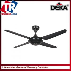 Deka Kronos 56'' Ceiling Fan Remote F5-N 4 Blade (Black) 3 Years Warranty Motor