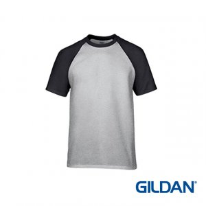 Gildan Premium Cotton Adult Men Raglan T-shirt - Sport Grey/Black