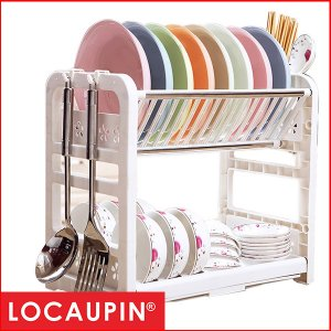 Locaupin Kitchen 2 Tiers Tableware Drain Dish Storage Rack