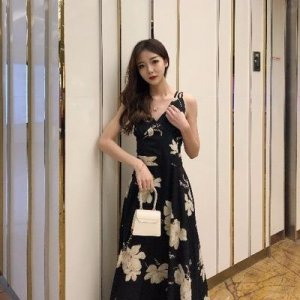 Women Sexy Back Summer Fashion Floral Long Dress