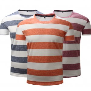 Fashion Men's Casual O-Neck T-Shirt Tee Summer Slim Fit Striped Print Basic Top