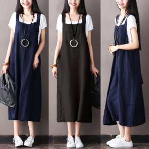 ZANZEA Women Long Shirt Dress Suspender Skirt Loose Dungaree Strappy Plus Size