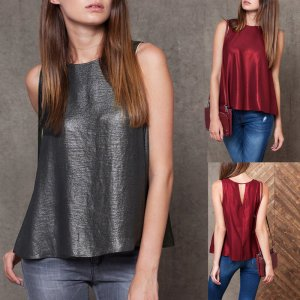 ZANZEA Women's Solid Sleeveless Sparkle Glitter Tank Top Vest T-Shirt Blouse Tee