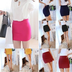 Women's Sexy Mini Skirt Slim Seamless Stretch Tight Short Fitted Pencil Skirt