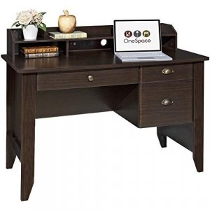 OneSpace 50-1617 Executive Desk with Hutch, USB and Charger Hub, Wood Grain Espresso