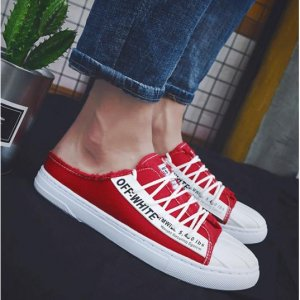 Men Korean Fashion Half Slippers Wild Style Lazy Lace Up Canvas Shoes
