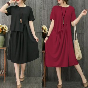 Women Short Sleeve Vintage Loose Casual Pure Knee Length Shirt Dress Tunic Plus