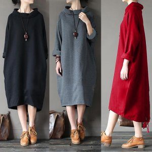 ZANZEA Oversized Women Casual Long Shirt Dress Plus Size Jumper Pullover Loose