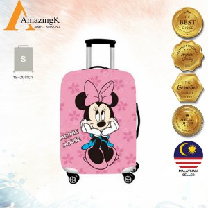 PINK BLUE MINNIE MOUSE Elastic Dustproof Travel Luggage Cover, 18-30''