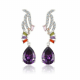 Vivere Rosse Amethyst Tear Drop Dangle Earrings