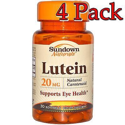 Sundown Naturals Lutein, 20mg, Softgels, 30ea, 4 Pack 030768049003T757