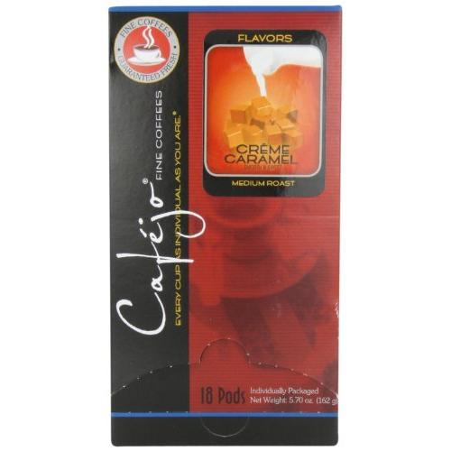 Coffee Cafejo Single Cup Coffee Pods, Caramel Crème (18 Count)