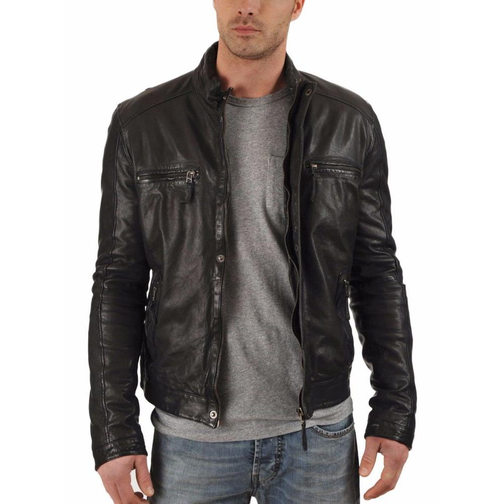 Hugme Fashion Mens Leather Motorcycle Jacket Supersoft Lambskin