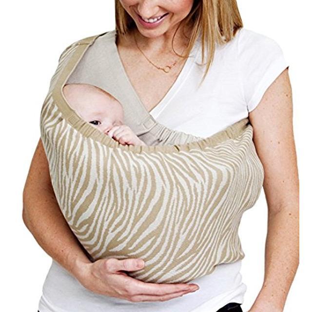 Cuddle me Japan made baby sling knit hug holding newborn sleeping M size khaki zebra reversible